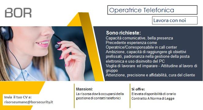 Offerta di lavoro: operatrice telefonica