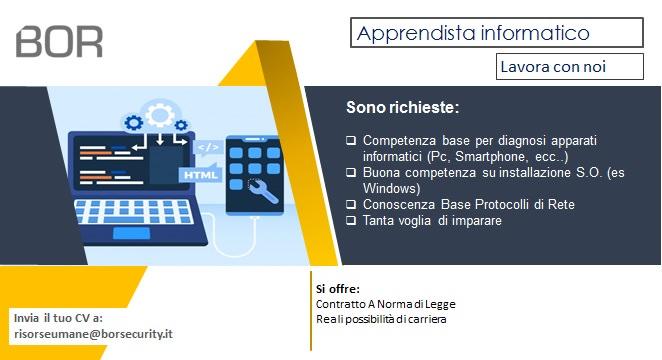 Offerta di Lavoro: Apprendista Informatico