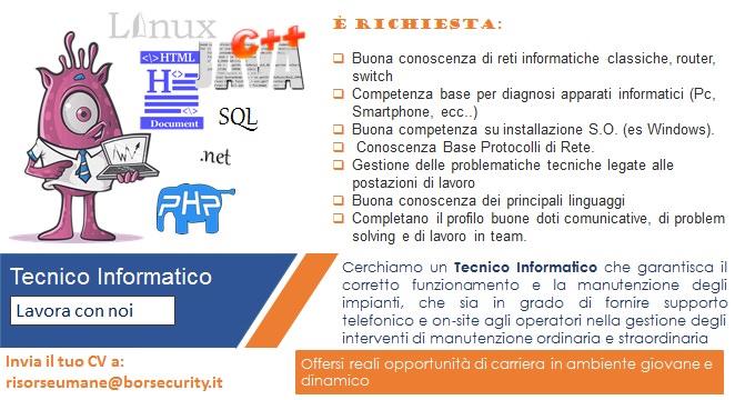 Offerta di lavoro: Tecnico Informatico